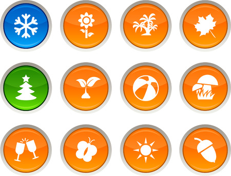Seasons glossy icons. Vector buttons. Stock Vector - 6344211