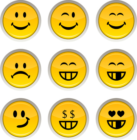 Smiley glossy icons. Vector buttons. Vector