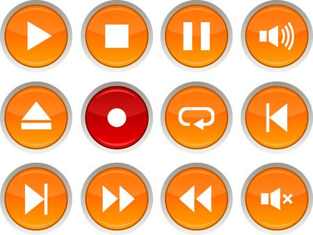 Player glossy icons. Vector buttons. Stock Vector - 6344210