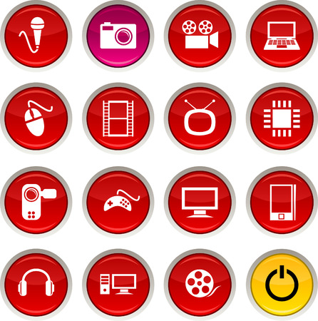 Multimedia glossy icons. Vector buttons. Stock Vector - 6344229