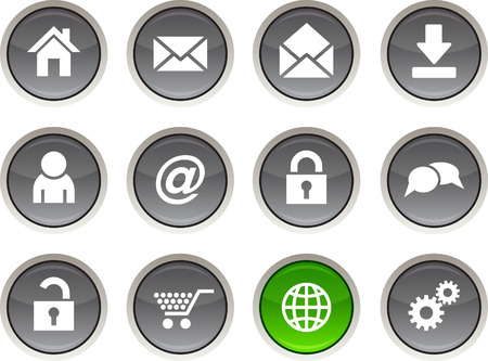 web glossy icons. Vector buttons Stock Vector - 6344209