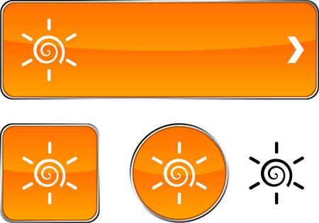 Sun  web buttons. Vector illustration.  Vector