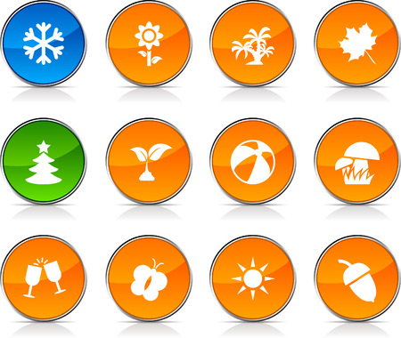 button mushroom: Seasons  glossy icons. Vector buttons.  Illustration