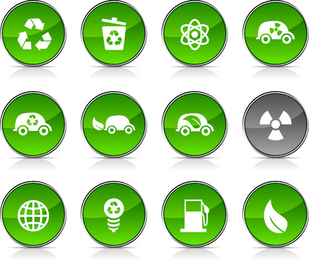 Ecology   glossy icons. Vector buttons. Stock Vector - 6362341