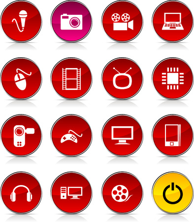Multimedia  glossy icons. Vector buttons. Stock Vector - 6362338