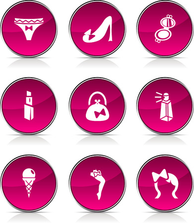 Women  glossy icons. Vector buttons. Stock Vector - 6362448