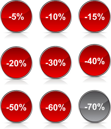 Discount  glossy icons. Vector buttons. Vector