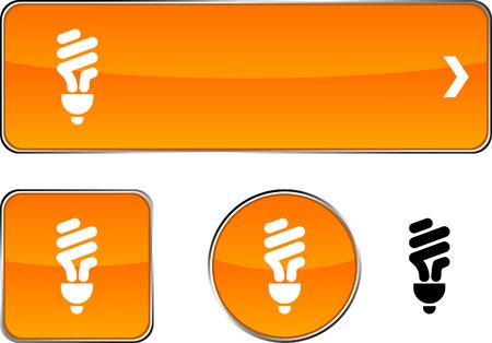 metal light bulb icon:  Fluorescent bulb  web buttons. Vector illustration.