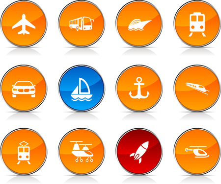 Transport  glossy icons. Vector buttons.  Vector