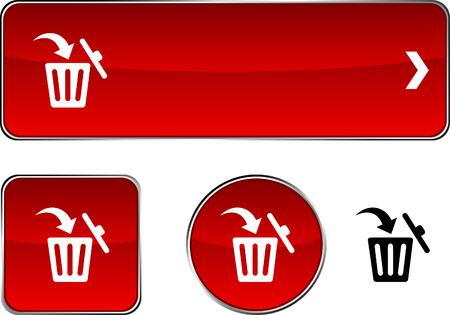 Delete  web buttons. Vector illustration.  Vector