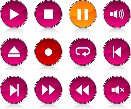 Player glossy icons. Vector buttons. Stock Vector - 6375215