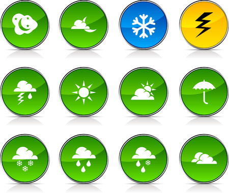 Weather glossy icons. Vector buttons. Stock Vector - 6375218