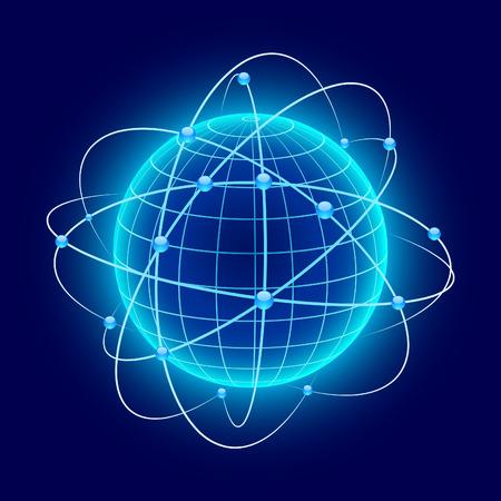 Blue globe with orbits. Vector.  Illustration