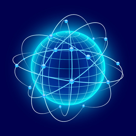 Blue globe with orbits. Vector. Stock Vector - 6375216