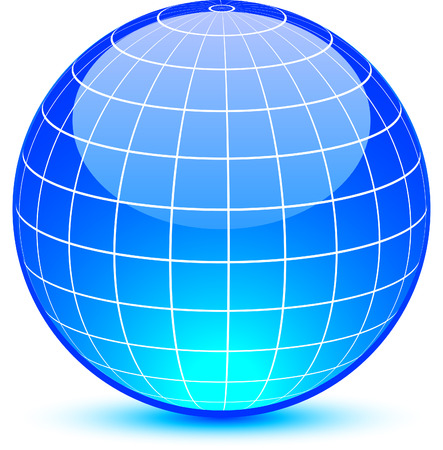 Blue glossy globe. Vector illustration.  Vector
