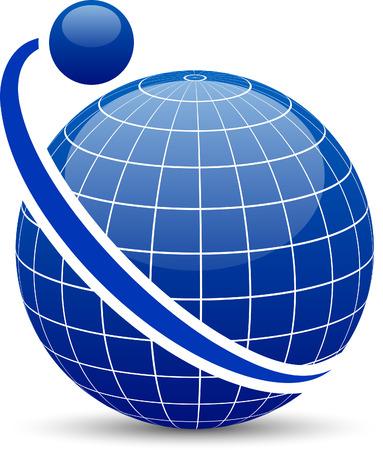 Blue globe with orbit. Vector.