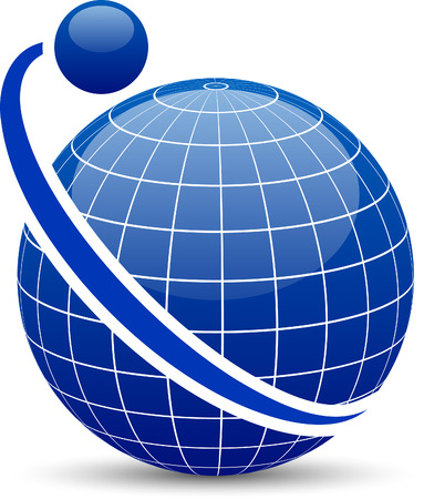 Blue globe with orbit. Vector. Stock Vector - 6375211