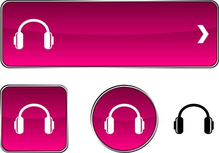 headphones  web buttons. Vector illustration. Stock Vector - 6375229