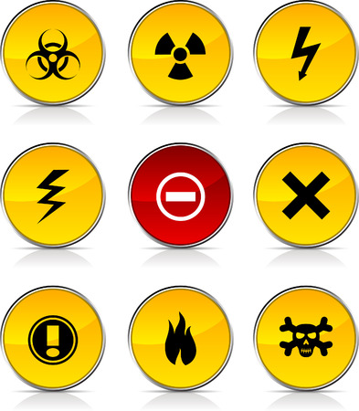 Warning  glossy icons. Vector buttons. Vector