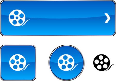 Media   web buttons. Vector illustration.  Stock Vector - 6395785