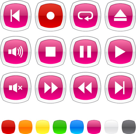 Player glossy icons. Vector buttons. Stock Vector - 6416547