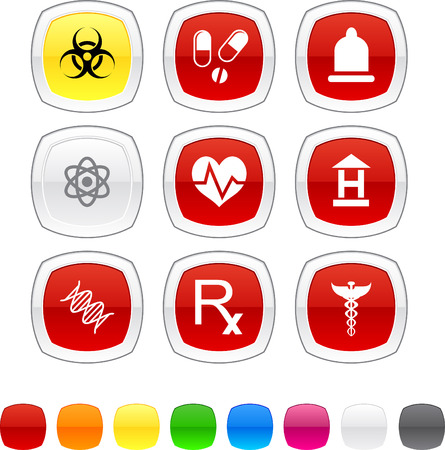 Medical glossy icons. Vector buttons. Vector