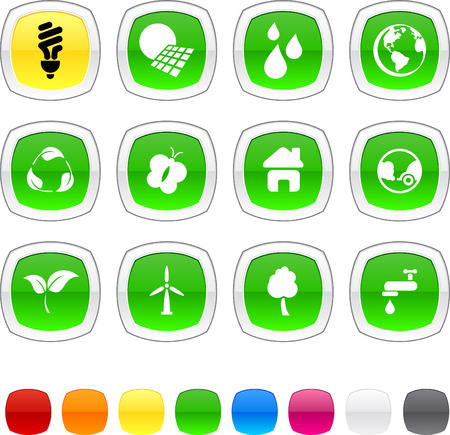Ecology glossy icons. Vector buttons. Vector