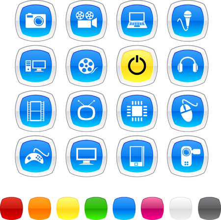 Multimedia glossy icons. Vector buttons. Stock Vector - 6416451