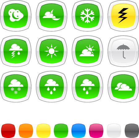Weather glossy icons. Vector buttons. Stock Vector - 6424898