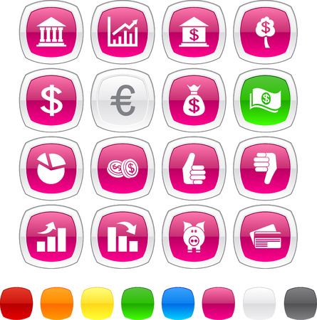 Money glossy icons. Vector buttons. Stock Vector - 6424920