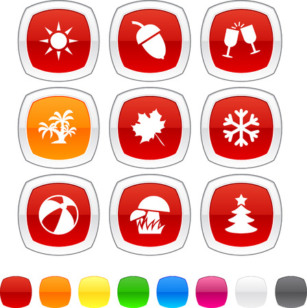 Seasons glossy icons. Vector buttons. Vector