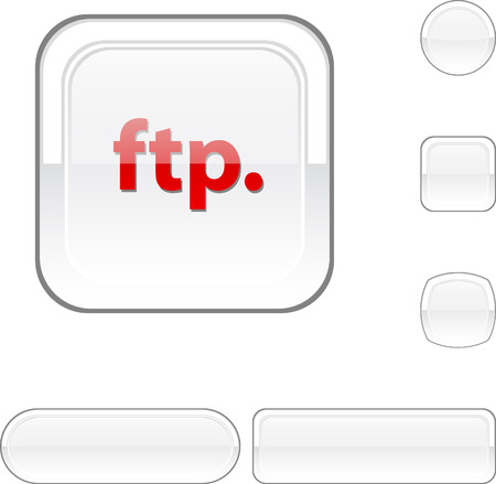 FTP white buttons. Stock Vector - 6457892