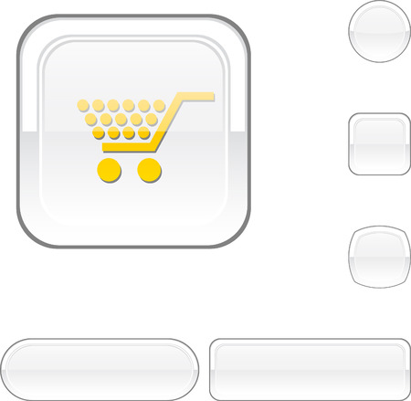 Shopping white buttons.  Stock Vector - 6457866