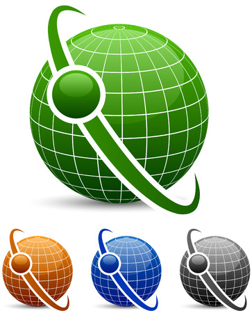 wereldbol groen: Globe pictogrammen met baan.  Stock Illustratie