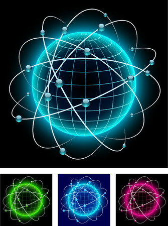 Globe icons with orbits. Vector