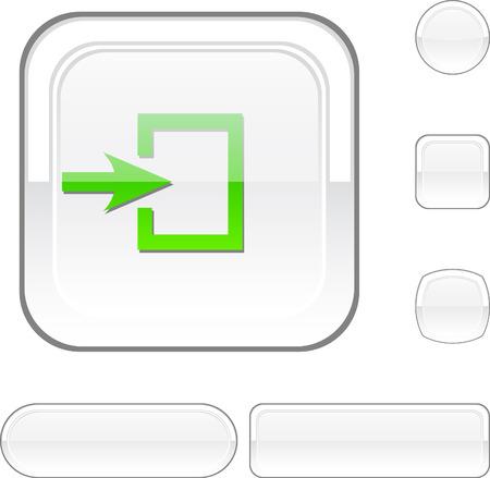 Entrance white buttons. Vector illustration.  Stock Vector - 6493113