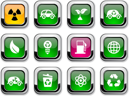 metal recycling: Ecology glossy icons. Vector buttons.