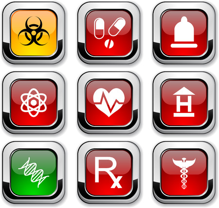 Medical glossy icons. Vector buttons. Stock Vector - 6517559