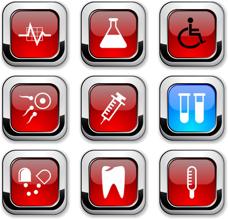 spermatozoon: Medical glossy icons. Vector buttons.