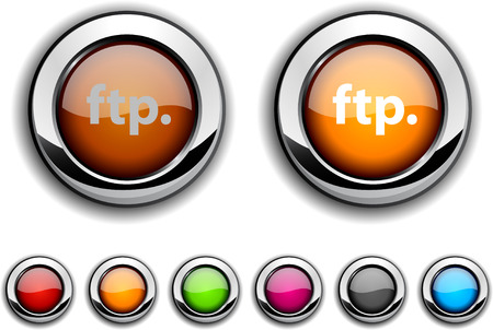 ftp: FTP realistic buttons. Vector illustration.