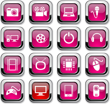 multimedia: Multimedia glossy icons. Vector buttons.