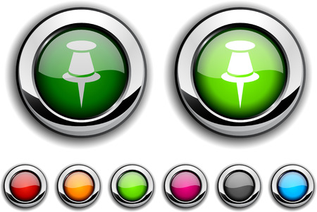 Drawing-pin realistic buttons. Vector illustration. Stock Vector - 6517593