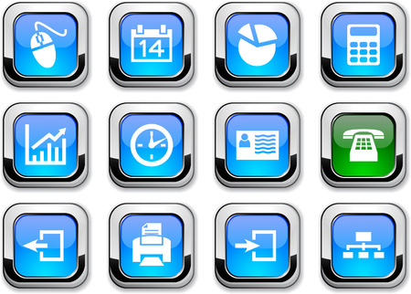 Office glossy icons. Vector buttons. Stock Vector - 6517589
