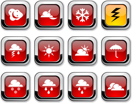 Weather glossy icons. Vector buttons. Stock Vector - 6517590