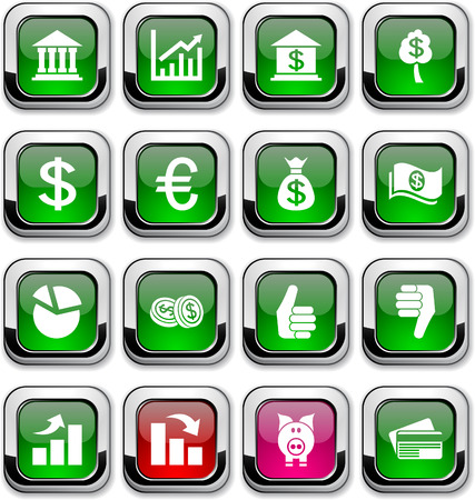 Money glossy icons. Vector buttons. Stock Vector - 6517592