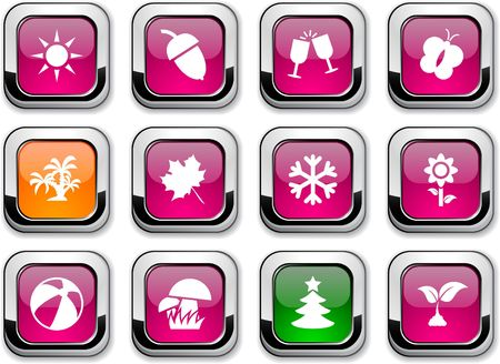 Seasons glossy icons. buttons.  Vector