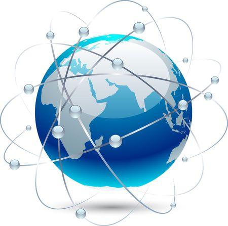 communicatie: Pictogram van de wereld bol met banen.