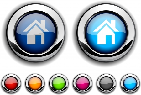 vector buttons: Home realistic buttons. Vector illustration.  Illustration