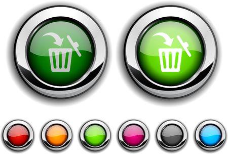 delete: Delete realistic buttons. Vector illustration.