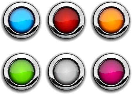 Realistic metallic buttons. Stock Vector - 6554538